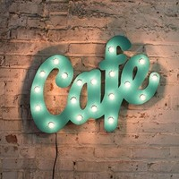 Aqua Metal Cafe Marquee Sign with Lights