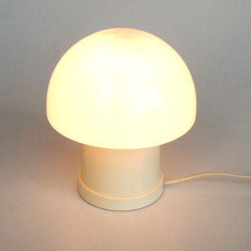 Mid Century Modern Mushroom Lamp Pair / White Table Lamps / Atomic Lighting / 70's Space Age Retro Decor / White Beige