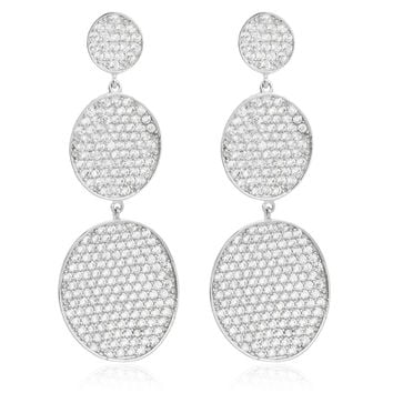 925 Sterling Silver Fancy Triple Disc Cubic Zirconia Dangle Stud Earrings