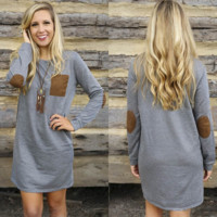 Fashion Round Neck Long Sleeve Dress