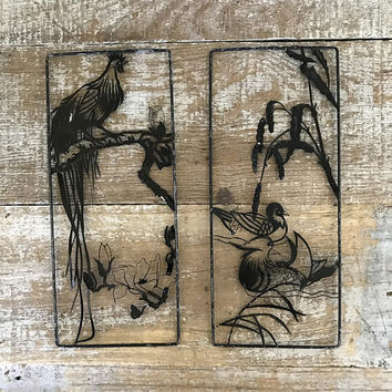 Metal Wall Hanging 2 Mid Century Rustic Scene Metal Wall Art Bird Wall Hanging Black Metal Cutout Wall Art Rustic Decor Cottage Chic