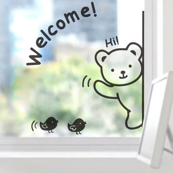 "Cute Bear ""Welcome"" Bird  NEW For Glass Backdrop Removable Waterproof Vinyl home decor wall stickers decoration SM6"