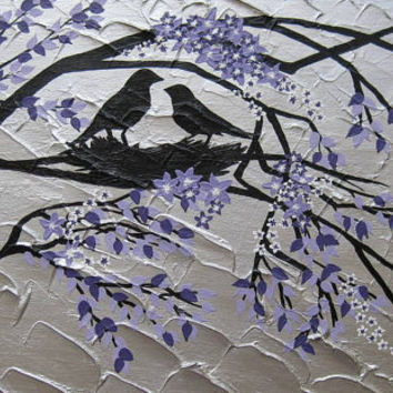 painting with birds and purple / white  blossom - variety of sizes and colours available- feel free to suggest variations