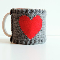 Valentines Day Mug Cozy, Love Mug Cozy , Grey Cup Cosy , Knitting Mug Sweater