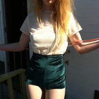 New Green velvet high waisted shorts vintage style 4 6 8 10 12 14