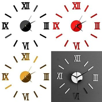 Funny Chic Adhesive Silver Vintage Roman Numeral Number Frameless Wall Clock 3D Home Decor