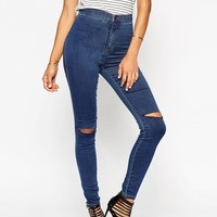 ASOS Rivington High Waist Denim Jeggings In Sycamore Wash With Knee Rips at asos.com