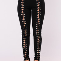 X's And O's Lace Up Pants - Black