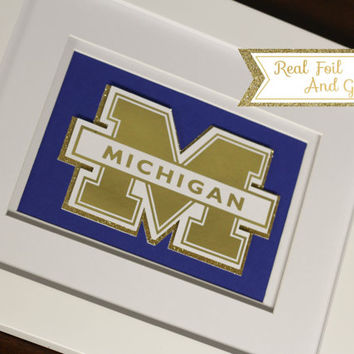 Custom College Mascot Real Foil Print With Frame (Optional)- Michigan, Dorm Decor, Graduation Gift, Framed Art, Office, Gift For Boss, Gold