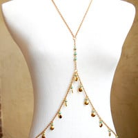 Nile Princess - Gold Festival / Belly Dance / Gypsy Body Chain w/ Turquoise Blue Beads and Dangles