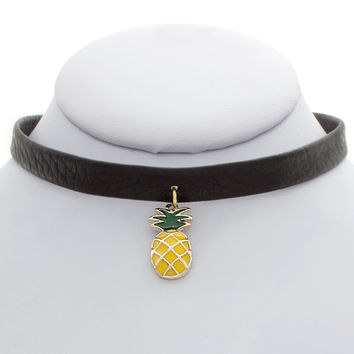 Pineapple Charm Leather Choker
