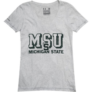 Under Armour Michigan State Spartans Women's Charged Cotton V-Neck T-Shirt