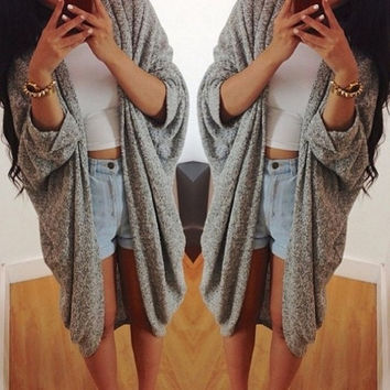 New Women Casual Oversized Knit Sleeve Sweater Coat Polyamide Cardigan Jacket