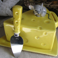 Lefton 1950's Pixieware, Yellow Ceramic Covered Cheese Wedge, Tray With Adorable Mouse Finial & Knife Spreader, Perfect Housewaring Gift