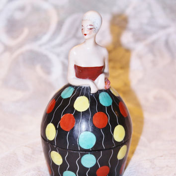 Rare Vintage Aladin Luxe Made in France Signed Becquerel Lady Figure Figurine Powder Puff Girl Box or Ink Pot Polka dot dress