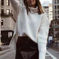 New White Irregular High Neck Long Sleeve Fashion Pullover Sweater