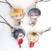 Hinata, Kageyama, Kuroo, Kenma - Haikyuu!! Hand-Drawn Double Sided Front & Back Anime Acrylic Charms with Phone Strap