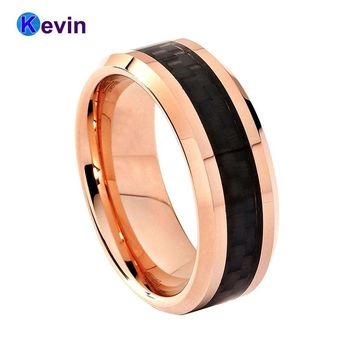 Shiny Nice Rose Gold Color Tungsten Mens Womens Wedding Ring With Black Carbon Fiber Inlay