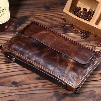 mens retro genuine leather long wallet handmade card hold purse gift 08 2