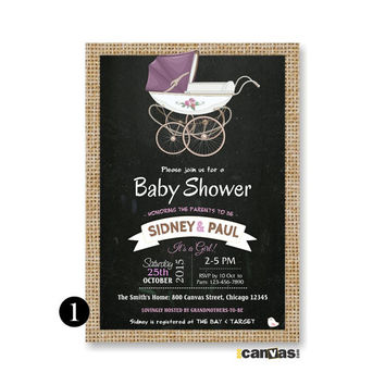Stroller Baby Shower Invitation. Vintage Baby Stroller Invite. Buggy Baby Shower Invite, Vintage Buggy Crib Baby Shower, Gender NeutralBS124