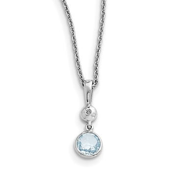 SS White Ice Blue Topaz and Diamond Necklace QW359