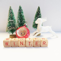 Vintage Letter Cubes Christmas WINTER Holiday Decor Wooden Red Supplies Crafts Winter Gift Idea
