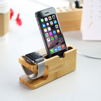 Stylish Wood Phone Stand Charging Bracket Holder for Apple iPhone 6 6S Plus 5 5S SE 5C 4S for i Watch Natural Bamboo Socket
