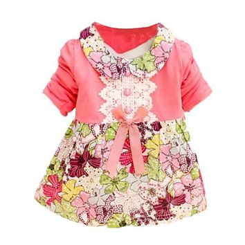 Cute Baby Girls Clothes Kid One-Piece Doll Collar Princess Lace Floral Dress
