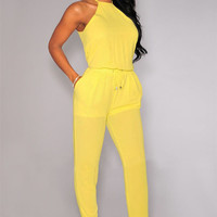 Yellow Halter Racer Back Drawstring Jumpsuit