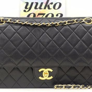 r60590 Auth VINTAGE CHANEL Black Quilted Lambskin Double Flap Chain Shoulder Bag