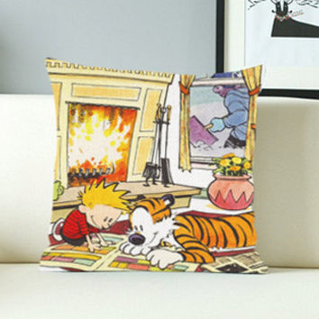 Calvin and Hobbes Design - Design Pillow Case with Black/White Color.