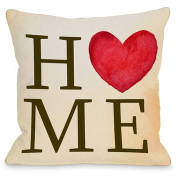 """Home Heart"" Indoor Throw Pillow by OneBellaCasa, 16""x16"""
