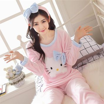 3pc sleep tops+pants+Hair bands KT Cat printed Women's coral fleece pajamas sleepwear autumn & winter ladies long-sleeve nighty