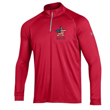 Maryland Terrapins Under Armour Star Spangled Banner Tech 1/4-Zip Pullover Jacket - Red
