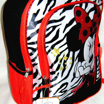 Disney Minnie Mouse Backpack Red White Black Gold Kids 2 Pocket Drink Holder Net