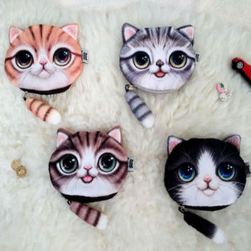 2015 new coin purses wallet  ladies 3D printing cats  dogs animal big face change fashion cute small zipper bag for women