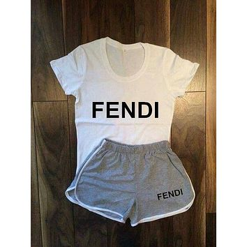 Fendi  Women Fashion Print Short sleeve Top Shorts Pants Sweatpants Set Two-Piece Sportswear
