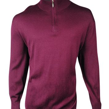Club Room Men's Big & Tall Mock Quarter-Zip Merino Sweater