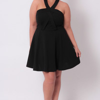 Plus Size Cross Neck Halter Dress - Black