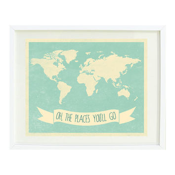 Oh The Places You'll Go Quote Art Print by GatheredNestDesigns