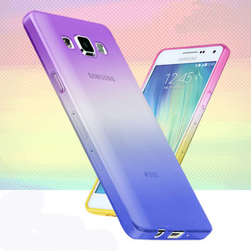 For iphone 4 4s 5 5s SE 5C 6 6S Plus Fashion Soft TPU Gradient Color Back Cover Case for Samsung Galaxy A3 A5 A7(2016) J3 J5 J7