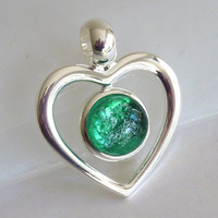 Emerald Green and Silver Glass Necklace