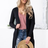 Mid Length Black Button Up Cardigan