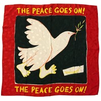Moschino Vintage 1980s The Peace Goes On Red Silk Dove Olive Branch Scarf