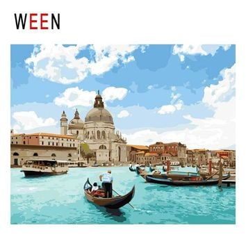 WEEN Venice Boat Diy Painting By Numbers Abstract Town Sea Oil Painting On Canvas Sky Cuadros Decoracion Acrylic Wall Art 2018