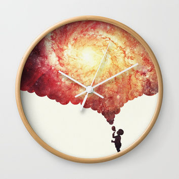 The universe in a soap-bubble! (Awesome Space / Nebula / Galaxy Negative Space Artwork) Wall Clock by Badbugs_art