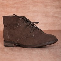 Breckelles Hitting Your Stride Fontana-13 Faux Suede Fold Down Lace Up Booties - Brown