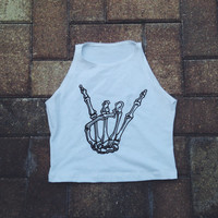 Skeleton Hand Crop Top American Apparel Tank Top Rave Festival Outfit