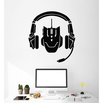 Vinyl Wall Decal Video Games Headphones Game Zone Stickers Mural (g1820)