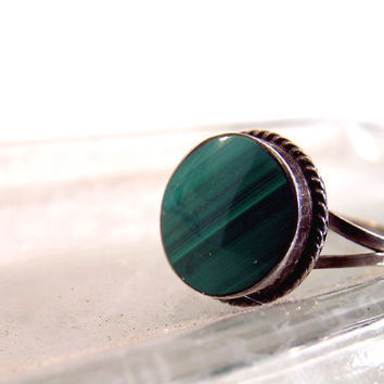 Silver Malachite Ring Native American Southwest style Sterling Silver